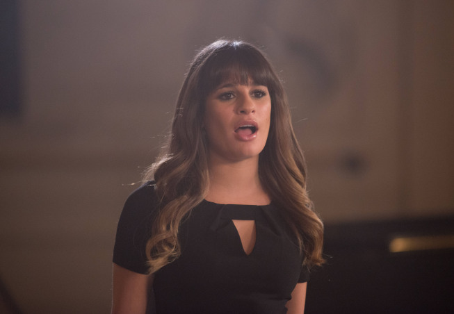 "GLEE: Rachel (Lea Michele) performs in the ""Naked"" episode of GLEE airing Thursday, Jan. 31 (9:00-10:00 PM ET/PT) on FOX. ©2013 Fox Broadcasting Co. CR: Eddy Chen/FOX"
