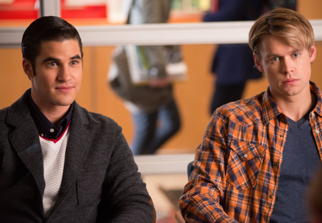 "GLEE: Blaine (Darren Criss, L) and Sam (Chord Overstreet, R) seek advice from Emma in the ""Naked"" episode of GLEE airing Thursday, Jan. 31 (9:00-10:00 PM ET/PT) on FOX. ©2013 Fox Broadcasting Co. CR: Eddy Chen/FOX"