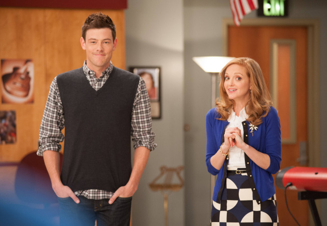 "GLEE: Finn (Cory Monteith, L) and Emma (Jayma Mays, R) challenge the glee club to find their inner powerhouses for ""Diva Week"" in the ""Diva"" episode of GLEE airing Thursday, Feb. 7 (9:00-10:00 PM ET/PT) on FOX. ©2013 Fox Broadcasting Co. CR: Eddy Chen/FOX"