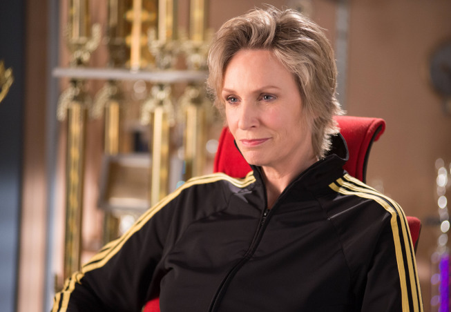 "GLEE: Sue (Jane Lynch) offers her advice in the ""Diva"" episode of GLEE airing Thursday, Feb. 7 (9:00-10:00 PM ET/PT) on FOX. ©2013 Fox Broadcasting Co. CR: Eddy Chen/FOX"