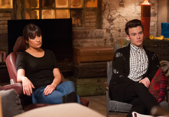 "GLEE: Rachel (Lea Michele, L) and Kurt (Chris Colfer, R) talk to Santana in the ""Feud"" episode of GLEE  airing on Thursday, March 14  (9:00-10:00 PM ET/PT) on FOX. ©2013 Fox Broadcasting Co. CR: Adam Rose/FOX"